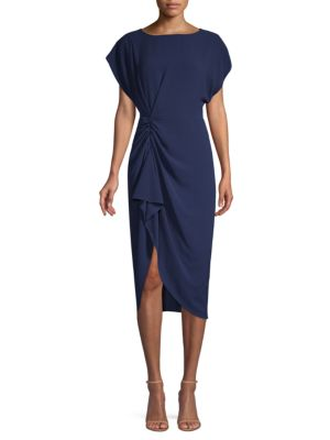 MISHA COLLECTION Kendall Gathered Crepe Midi Dress in Navy