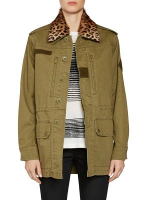 Leopard Print Fur Collar Parka