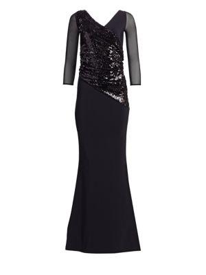 Erendira MM Sequined Long Sleeve Gown