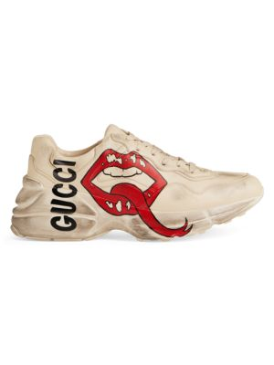 Rhyton Gucci Mouth Leather Sneakers