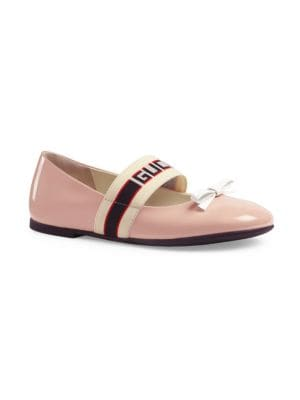 Kid's Mimi Leather Ballerina Flats