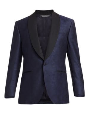 COLLECTION Rose Houndstooth Wool Single-Breasted Dinner Jacket