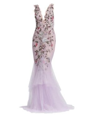 MARCHESA | Embellished Tulle Mermaid Gown | Goxip