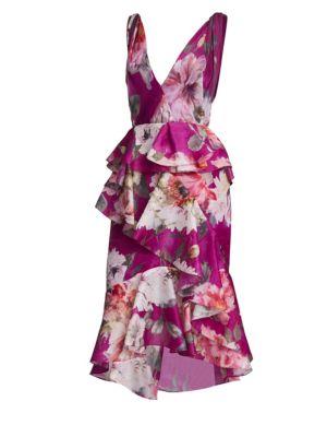Orchid Silk Organza Ruffle Dress