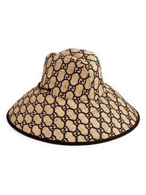 GG Embroidered Wide Brim Hat