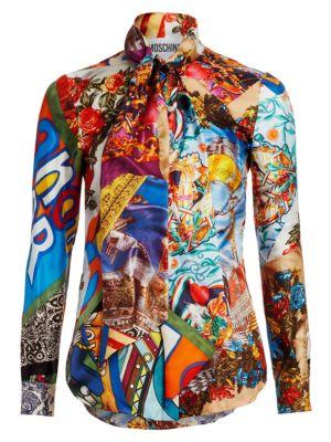 Multi-Print Tie-Neck Blouse