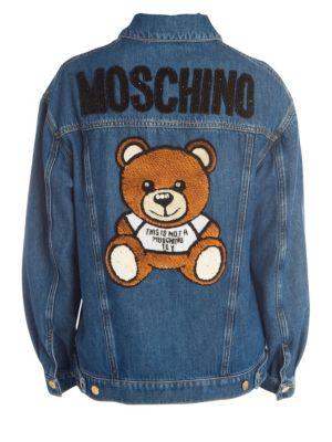 Embellished Bear Back Jean Jacket
