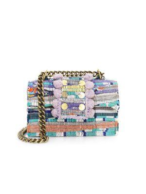 KOORELOO Large New Yorker Soho Pom-Pom Shoulder Bag in Lilac
