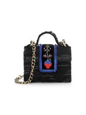 KOORELOO Midi Petite Woven Leather Crossbody Bag in Black