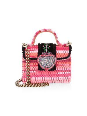 KOORELOO Divine Petite Embroidered & Woven Crossbody Bag in Pink