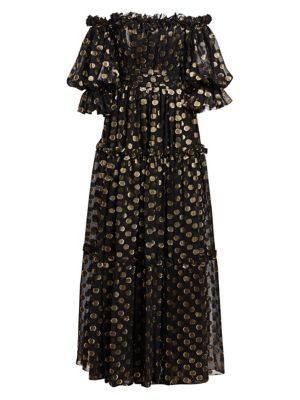 Off-The-Shoulder Chiffon Fil Coupé Gown