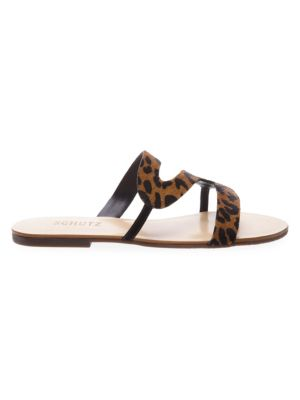 Erzeli Leopard Print Calf Hair Sandals
