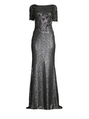Embellished Sequin Illusion Neckline Gown