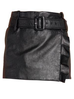 Leather Ruffle Mini Skirt