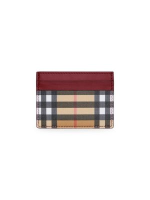 Vintage Check & Leather Card Case