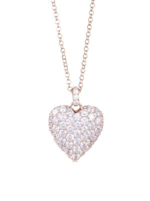 Valentine Rose Goldplated Silver & Cubic Zirconia Heart Pendant Necklace