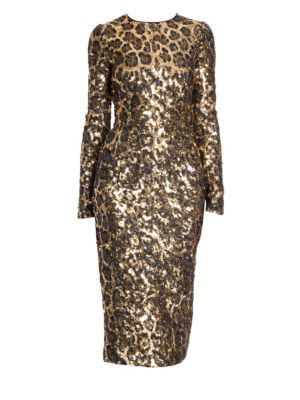 Leopard Sequin Long Sleeve Dress
