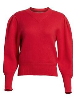 이자벨 마랑 Isabel Marant Etoile Kelaya Crewneck Puff Sleeve Sweater,Red