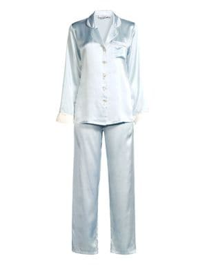 GINIA | Contrast Piping Two-Piece Pajamas | Goxip