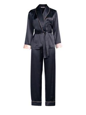 GINIA | Two-Piece Silk Pajama Set | Goxip