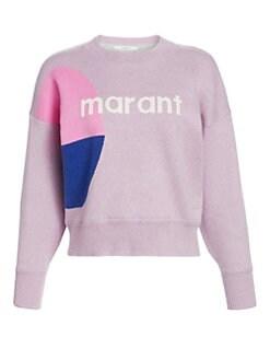 이자벨 마랑 Isabel Marant Etoile Cotton Logo Crewneck Sweater,Lilac