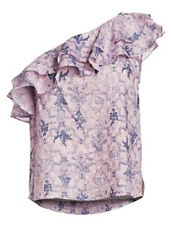 이자벨 마랑 에뚜왈 원 숄더 러플 탑 Isabel Marant Etoile Thomy One-Shoulder Ruffle Top,Pink