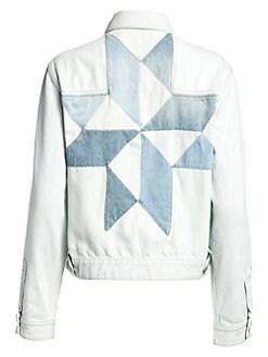 이자벨 마랑 에뚜왈 린다 데님 자켓 - 라이트 블루 Isabel Marant Etoile Lynda Faux Shearling Collar Graphic Denim Jacket, Light Blue