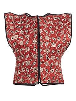 이자벨 마랑 에뚜왈 린넨 조끼 Isabel Marant Etoile Mandie Floral Reversible Linen Vest,Rust