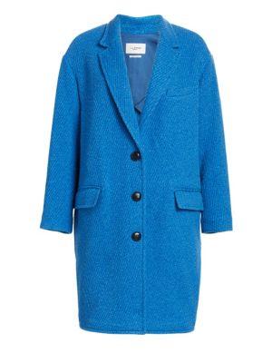 Gimi Long Boxy Wool-Blend Coat in Blue