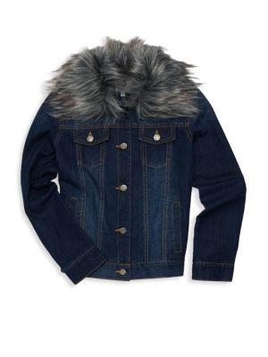 Baby, Little & Girl's Faux Fur Collar Denim Jacket