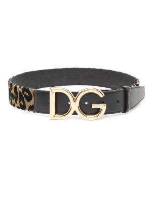 Leopard Cuoio Lux Logo Belt in Gold Black