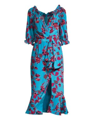 Olivia Floral Midi Wrap Dress