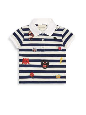 Baby Boy's Short-Sleeve Stripe Embroidered Polo
