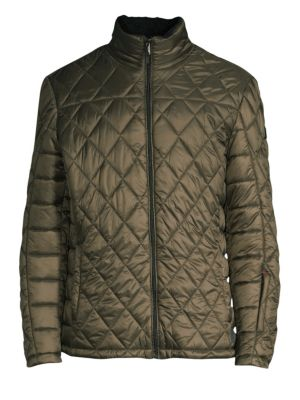 Tumi Outerwear Transit Faux Shearling Quilt Jacket