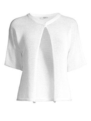 PESERICO | Short-Sleeve Cropped Crochet Cardigan | Goxip