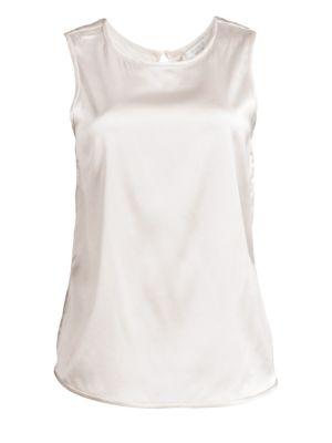 PESERICO | Sleeveless Stretch Silk Shell Top | Goxip