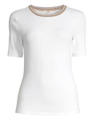 PESERICO | Embellished Cotton Tee | Goxip