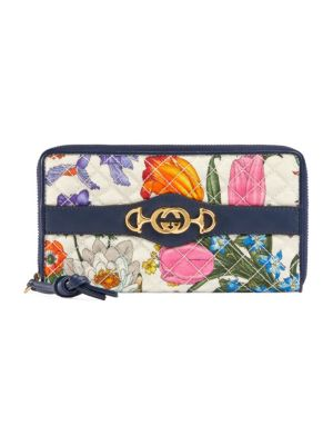 Trapuntata Quilted Floral Zip-Around Wallet