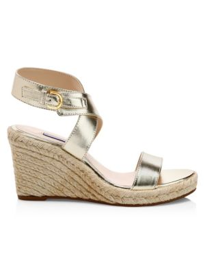 Lexia Metallic Leather Slingback Platform Wedge Sandals