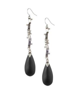 Crystal Baguette Linear Drop Wire Earring