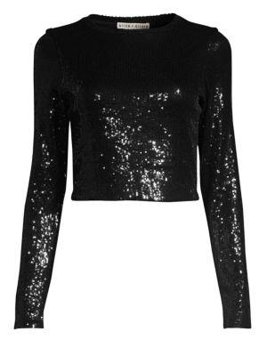 Delaina Sequined Crop Top, Black