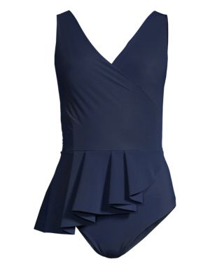 Arinette Asymmetric Peplum One-Piece Swimsuit