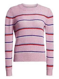 이자벨 마랑 Isabel Marant Etoile Crewneck Striped Ribbed Sweater,Lilac