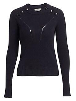 이자벨 마랑 Isabel Marant Etoile Koyla Button Detail Knit Wool-Blend Sweater,Dark Midnight