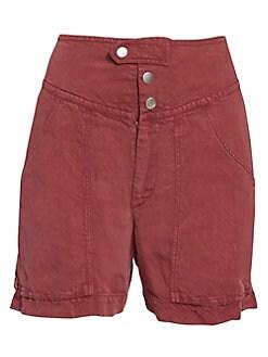 이자벨 마랑 에뚜왈 카고 반바지 Isabel Marant Etoile Lainey Linen-Blend Cargo Shorts,Raspberry