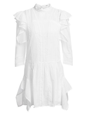 Alba Long-Sleeve Ruffle Shift Dress