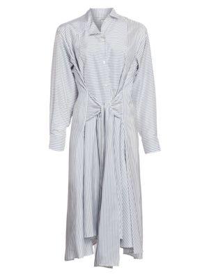 Silk Striped Shirt Dress