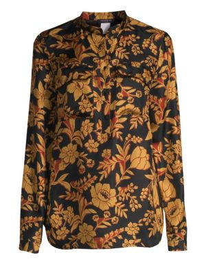 Russell Floral Silk Blouse, Black Multi