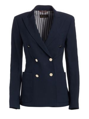 LORO PIANA | Maire Wool & Silk Double-Breasted Blazer | Goxip