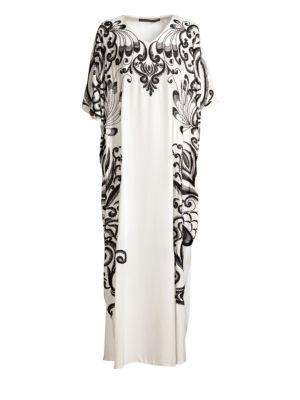 NATORI | Embroidered Silk Caftan Dress | Goxip